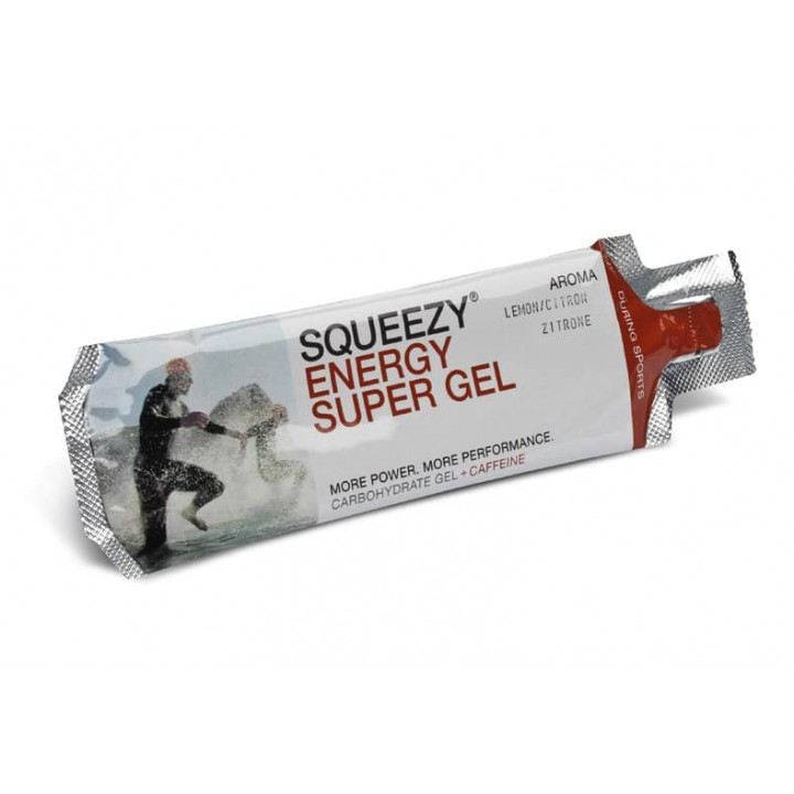 Гель с электролитами и кофеином SQUEEZY Energy Super Gel (лимон), 33гр.